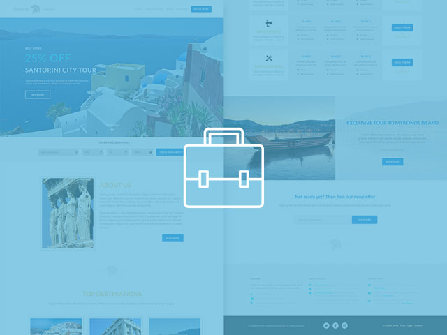 Discover greece travel agency free psd web template preview
